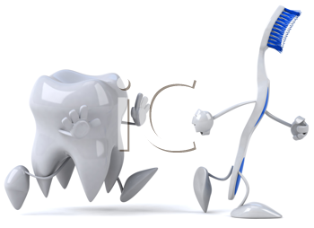 Royalty Free Clipart Image of a Tooth Chasing a Toothbrush