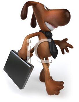 Royalty Free Clipart Image of a Dog With a Tie and a Briefcase