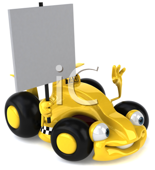 Royalty Free Clipart Image of a Racy Taxi