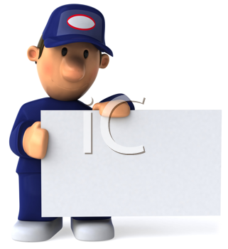 Royalty Free Clipart Image of a Mechanic With a Sign