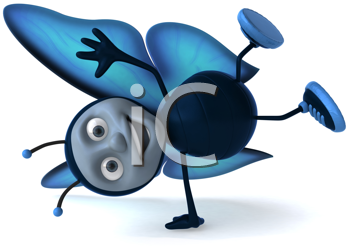 Royalty Free Clipart Image of a Butterfly Doing a Handspring