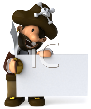 Royalty Free Clipart Image of a Pirate With a Sign