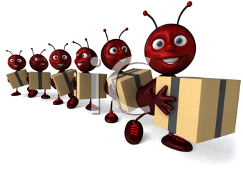 Royalty Free Clipart Image of Ants Carrying Parcels