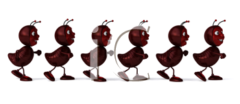 Royalty Free Clipart Image of Ants Walking