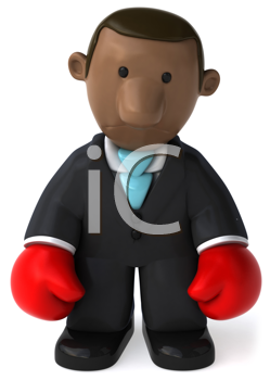 Royalty Free Clipart Image of a Black Businessman With Boxing Gloves
