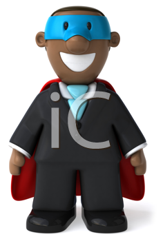 Royalty Free Clipart Image of a Happy Black Superhero Businessman