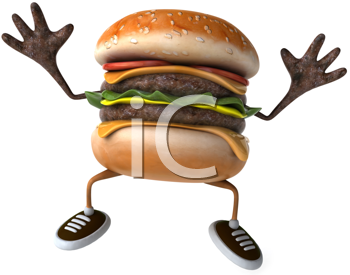 Royalty Free Clipart Image of a Happy Burger