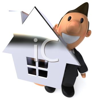 Royalty Free Clipart Image of a Man With a House