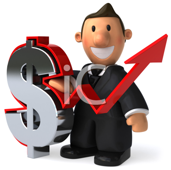 Royalty Free Clipart Image of a Man With a Dollar Sign and Arrow