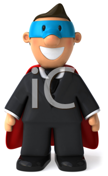 Royalty Free Clipart Image of a Businessman Superhero