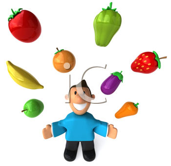 Royalty Free Clipart Image of a Man Juggling Healthy Food