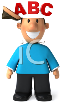 Royalty Free Clipart Image of a Man With ABC on His Mind