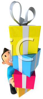 Royalty Free Clipart Image of a Man With Gifts