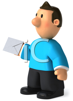 Royalty Free Clipart Image of a Man With a Letter