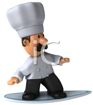 Royalty Free Clipart Image of a Chef on a Surfboard