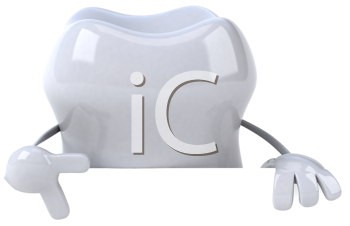 Royalty Free Clipart Image of a Tooth Making a V Sign