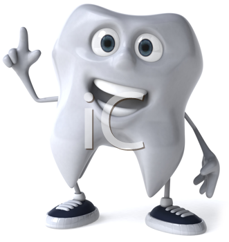 Royalty Free Clipart Image of a Smiling Tooth in Sneakers