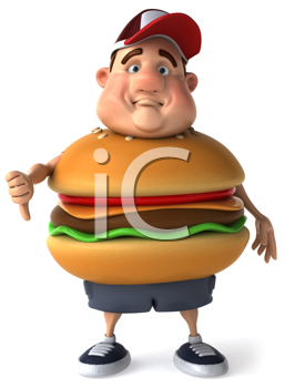 Royalty Free Clipart Image of a Sad Overweight Man With a Burger Belly