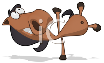 Royalty Free Clipart Image of a Horse Doing a Handspring