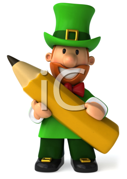 Royalty Free Clipart Image of a Leprechaun With a Pencil