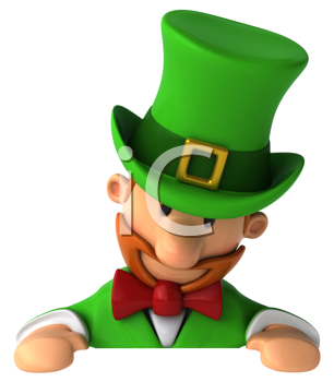 Royalty Free Clipart Image of a Leprechaun Looking Down