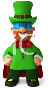 Royalty Free Clipart Image of a Masked Leprechaun