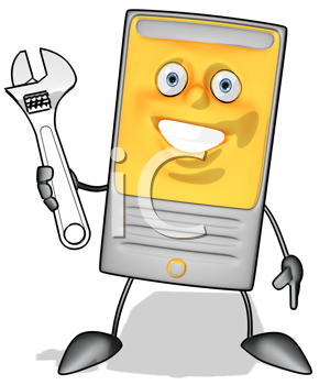Royalty Free Clipart Image of a Modem With a Wrench