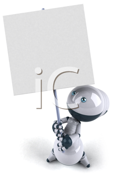 Royalty Free Clipart Image of a Robot With a Placard