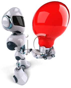 Royalty Free Clipart Image of a Robot With a Lightbulb