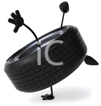 Royalty Free Clipart Image of a Tire Doing a Handspring