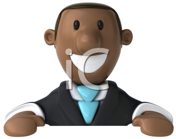 Royalty Free Clipart Image of a Black Man in a Suit