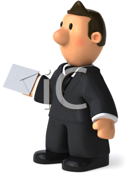 Royalty Free Clipart Image of a Man With an Envelope