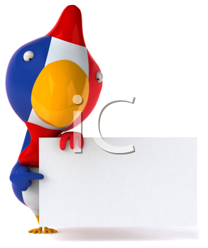 Royalty Free Clipart Image of a French Flag Bird With a Sign