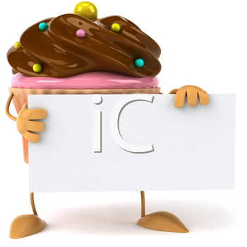 Royalty Free Clipart Image of a Cupcake With a Sign