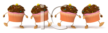 Royalty Free Clipart Image of a Group of Cupcakes