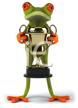 Royalty Free Clipart Image of a Frog With a Trophy
