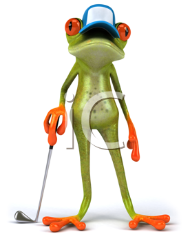 Royalty Free Clipart Image of a Golfing Frog