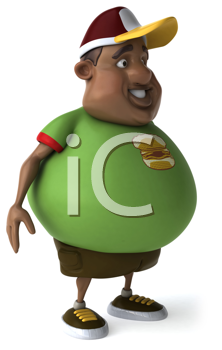 Royalty Free Clipart Image of an Overweight African American Man