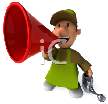 Royalty Free Clipart Image of a Gardener With a Megaphone