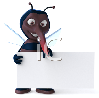 Royalty Free Clipart Image of a Mosquito With a Sign