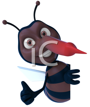 Royalty Free Clipart Image of a Mosquito Giving a Thumbs Up