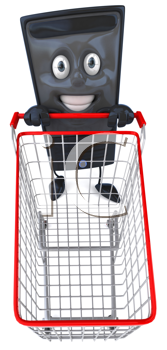 Royalty Free Clipart Image of a Modem With a Shopping Cart