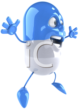 Royalty Free Clipart Image of a Happy Capsule
