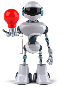 Royalty Free Clipart Image of a Robot With a Light Bulb