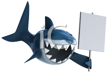 Royalty Free Clipart Image of a Shark With a Sign