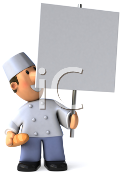 Royalty Free Clipart Image of a Baker With a Sign