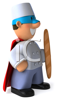 Royalty Free Clipart Image of a Superhero Baker With a Baguette