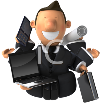 Royalty Free Clipart Image of a Multitasking Businessman Meditating