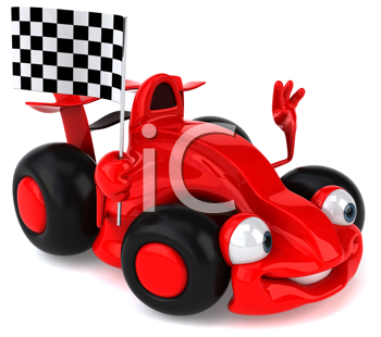 Royalty Free Clipart Image of a Racing Car With Checkered Flag