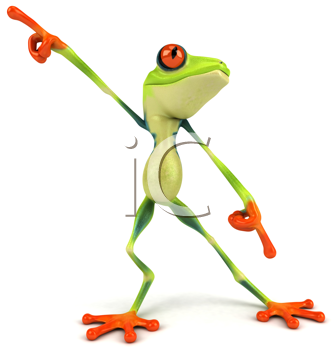 Royalty Free Clipart Image of a Posing Frog